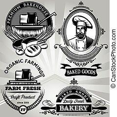 セット, べーキング, 収穫機, パン屋, 紋章, 主題