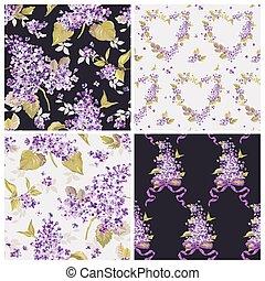 セット, ぼろぼろ, 春, 背景, -, seamless, ベクトル, パターン, 花, シック, 花