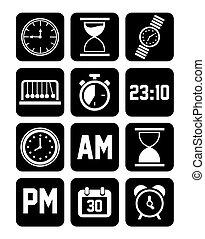 セット, まっすぐにされた, 時計, アイコン