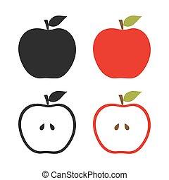 セット, りんご, アイコン