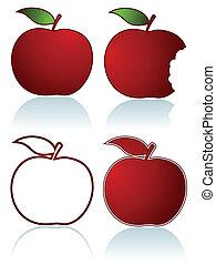 セット, りんご, 赤