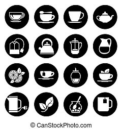 セット, アイコン, お茶, ベクトル, 黒, 白