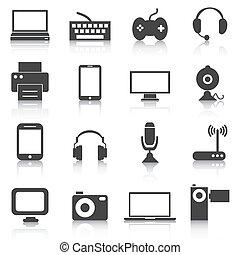 セット, アイコン, イラスト, ベクトル, エレクトロニクス, tech., 装置
