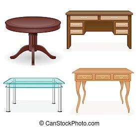 セット, アイコン, イラスト, ベクトル, テーブル, 家具