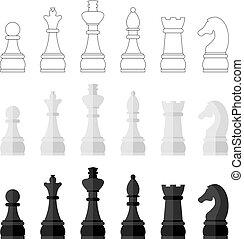 セット, アイコン, イラスト, 小片, ベクトル, チェス