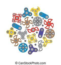 セット, アイコン, イラスト, 手, スピナ, ベクトル, fidget, おもちゃ, スピナー
