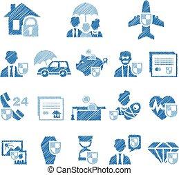 セット, アイコン, イラスト, style., ベクトル, handdrawn, 保険