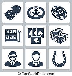 セット, アイコン, カジノ, 隔離された, ベクトル, ギャンブル