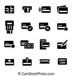 セット, アイコン, クレジット, ベクトル, 黒, カード