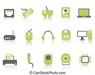 セット, アイコン, シリーズ, コンピュータ, 装置