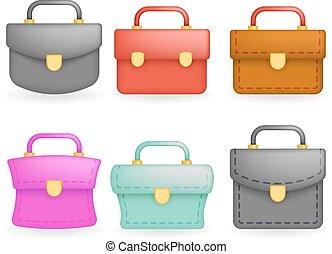 セット, アイコン, シンボル, 隔離された, イラスト, schoolbag, 現実的, ベクトル, デザイン, 教育, 3d