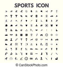 セット, アイコン, スポーツ, ベクトル, 黒, 白
