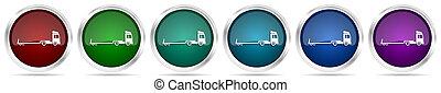 セット, アイコン, トレーラー, 背景, 金属, 牽引, 銀色のトラック, 車, グロッシー, オプション, conept, ボタン, 白, 網, 色, 隔離された, 長い間, 6
