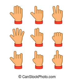 セット, アイコン, バックグラウンド。, ベクトル, 手, 白, emoji