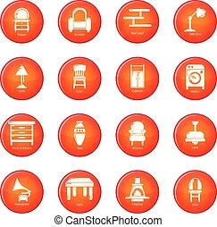 セット, アイコン, ベクトル, 内部, 赤, 家具