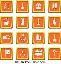 セット, アイコン, ベクトル, 広場, 清掃, オレンジ, 道具