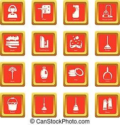 セット, アイコン, ベクトル, 広場, 清掃, 道具, 赤