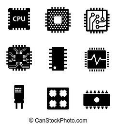 セット, アイコン, ベクトル, 黒, マイクロプロセッサ, チップ, cpu