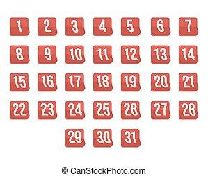 セット, アイコン, ベクトル, 31st., photorealistic, カレンダー, 最初に