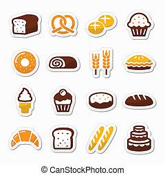 セット, アイコン, -, ペストリー, パン屋, bread