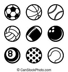 セット, アイコン, ボール, スポーツ, バックグラウンド。, ベクトル, 白