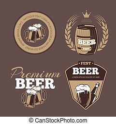 セット, アイコン, ラベル, banners., ビール, ベクトル, サイン, ポスター