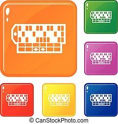 セット, アイコン, ルーレット, 色, ベクトル, テーブル