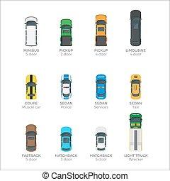 セット, アイコン, 上, 現代, ベクトル, 車, 輸送, 光景