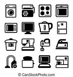 セット, アイコン, 世帯, バックグラウンド。, ベクトル, 器具, 白