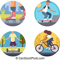 セット, アイコン, 乗車, bicycles, スケート, ∥あるいは∥, ローラー
