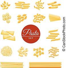 セット, アイコン, 伝統的である, 現実的, パスタ, イタリア語