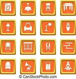 セット, アイコン, 内部, ベクトル, 広場, オレンジ, 家具