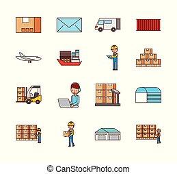 セット, アイコン, 出産, 箱, ロジスティックである, メール, 輸送