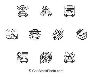 セット, アイコン, 単純である, 自動車, ベクトル, 線, 保険