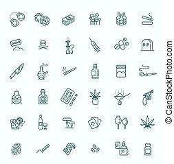 セット, アイコン, 単純である, 関係した, 薬, ベクトル, 線