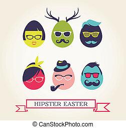 セット, アイコン, 卵, -, 情報通, 流行, イースター, 幸せ