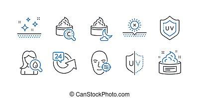 セット, アイコン, 問題, 美しさ, 太陽, そのような物, uv, いいえ, protection., 皮膚, ベクトル