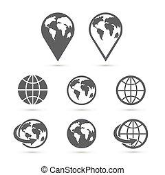 セット, アイコン, 地球, 隔離された, white., vector., 地球