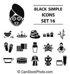 セット, アイコン, 大きい, シンボル, コレクション, ベクトル, 黒, イラスト, エステ, style., 株