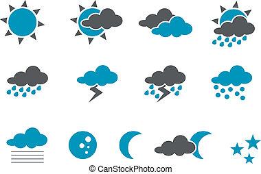 セット, アイコン, 天候