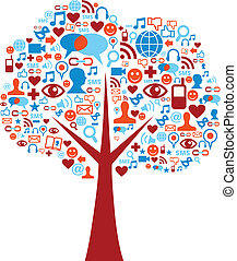 セット, アイコン, 媒体, 木, 社会, 構成