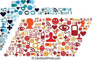 セット, アイコン, 媒体, 社会, フォルダー, 構成