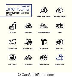 セット, アイコン, -, 建設, デザイン, 線, 機械