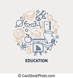 セット, アイコン, 形。, ベクトル, 線, 教育, 円