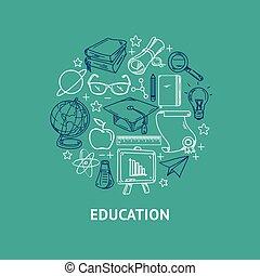 セット, アイコン, 形, ベクトル, 線, 教育, 円