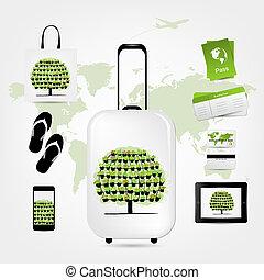 セット, アイコン, 旅行, デザイン, スーツケース, あなたの