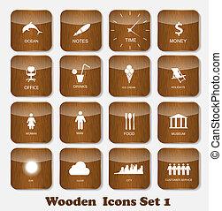セット, アイコン, 木製である, イラスト, 適用, ベクトル