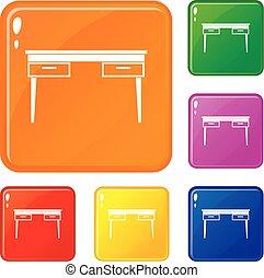 セット, アイコン, 木製である, 色, ベクトル, テーブル