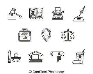 セット, アイコン, 正義, ベクトル, 黒, 線, 法律
