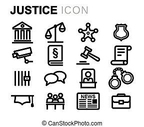 セット, アイコン, 正義, ベクトル, 黒, 線